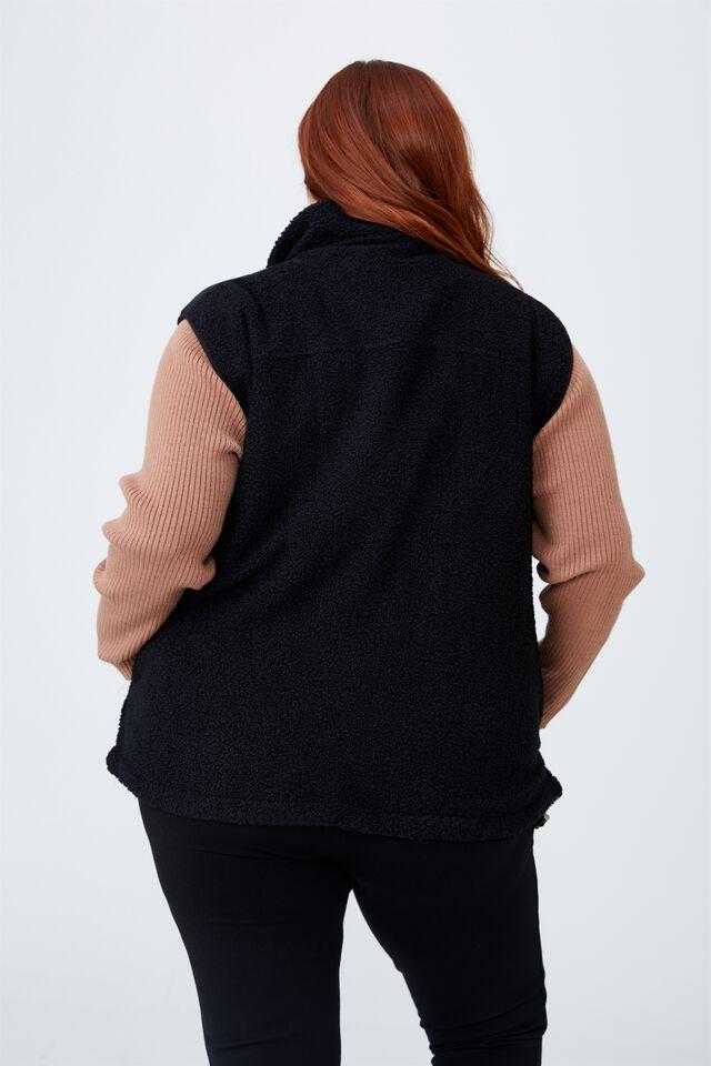 Curve Recycled Cabin Fleece Vest, BLACK