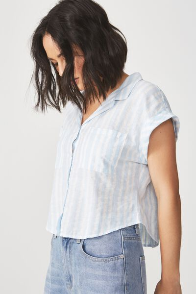 Emily Chopped Short Sleeve Shirt, TEXTURE STRIPE ANGEL FALLS