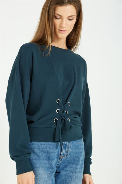 Cora Corset Sweater, VELVETY GREEN