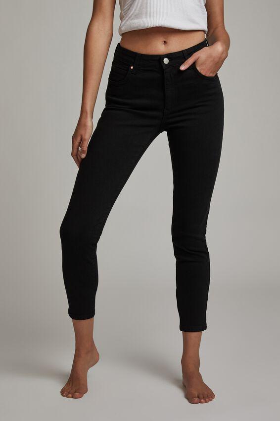 Mid Rise Cropped Skinny Jean, BLACK