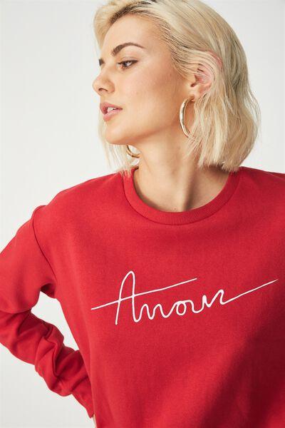 Ferguson Graphic Crew Sweatshirt, AMOUR/CHILLI RED