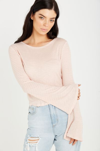 Sharnia Chop Bell Sleeve Top, MISTY PINK