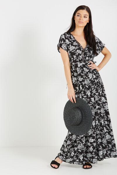 Woven Mira Kimono Maxi Dress, CAMBRIDGE FLORAL MONO