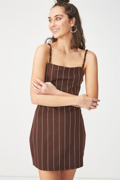 Gia Strappy Pinafore Dress, SAXXY STRIPE RICH BROWN VERTICAL
