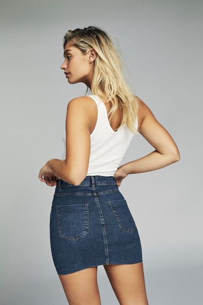 Classic Stretch Denim Mini Skirt, MID BLUE