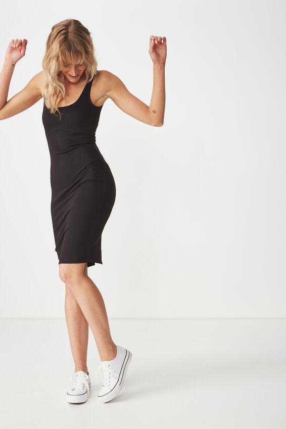 Kimi Scooped Bodycon Midi Dress, BLACK