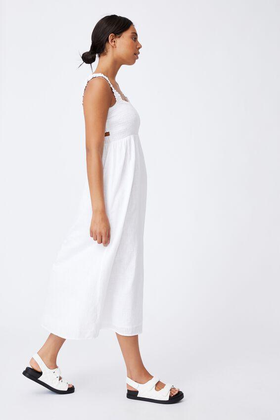 Woven Thea Strappy Open Back Midi Dress, WHITE