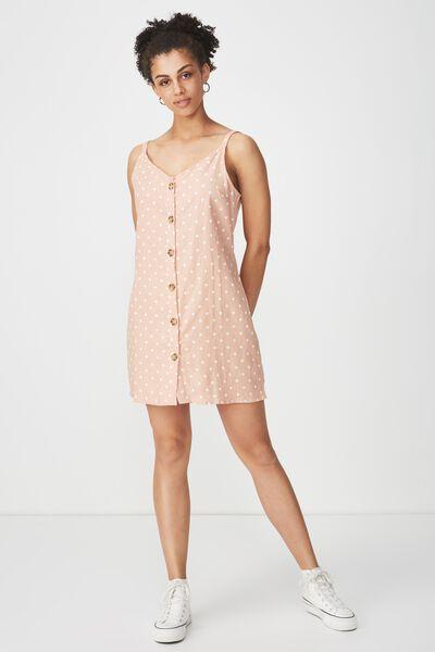 Woven Margot Slip Dress, BUTTON THROUGH LENY SPOT TUSCANY