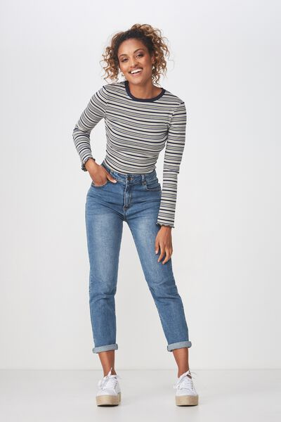 The Sister Long Sleeve Top, FIN STRIPE SILVER SAGE