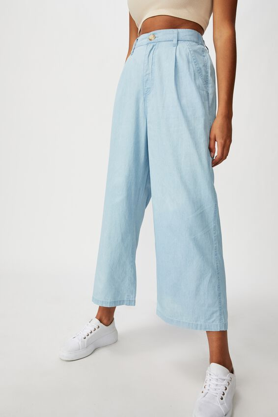Cindy Wide Leg Pant, MID BLUE