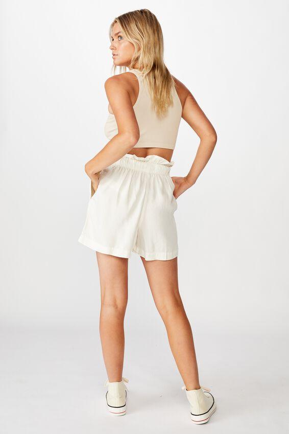 High Rise Paperbag Short, WHITE