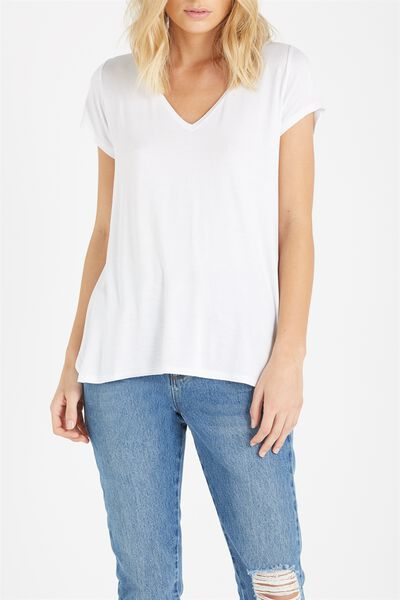Keira Short Sleeve V-Neck T Shirt, WHITE