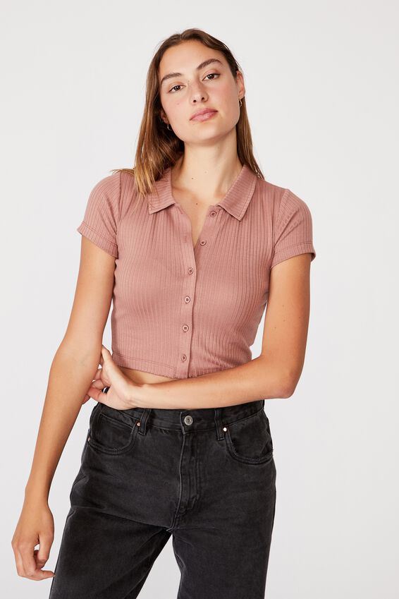 Mila Polo Short Sleeve, ROSE TAUPE