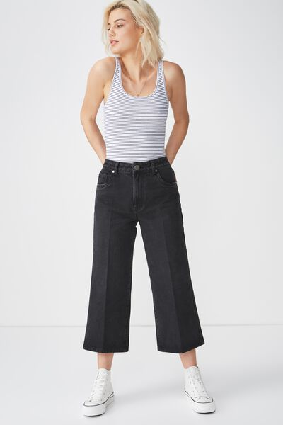 High Rise Wide Leg Crop Jean, WASHED BLACK PRESS