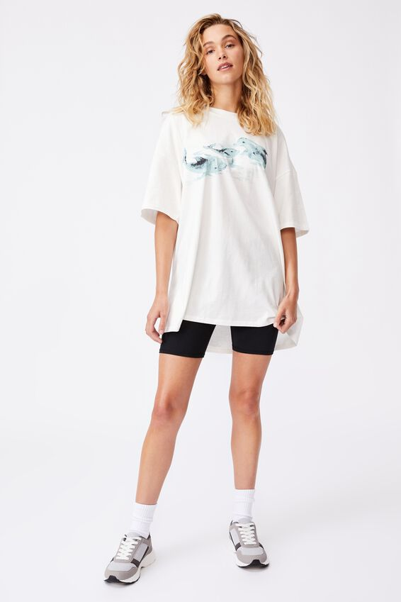 Oversized Graphic T Shirt Dress, DOLPHINS/VINTAGE WHITE