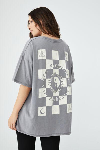Oversized Graphic T Shirt Dress, LESS PERFECTION/THUNDER GREY