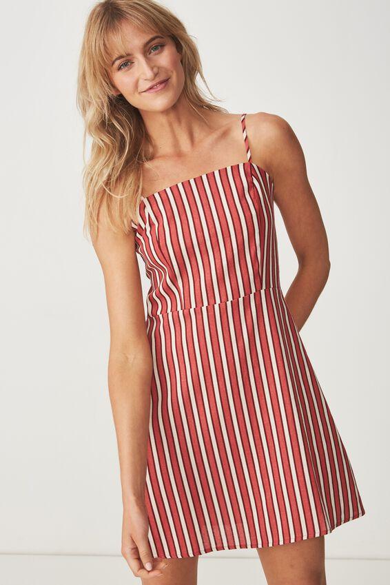 Woven Krissy Dress, GRACIE STRIPE RED - L
