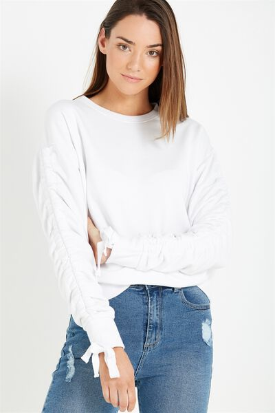 Jade Rouched Sleeve Sweater, WHITE