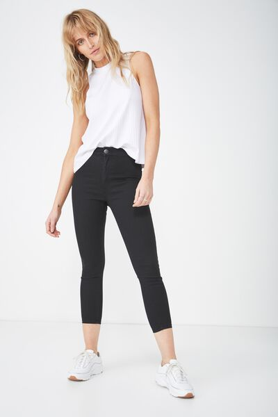 High Rise Capri Jegging, BLACK