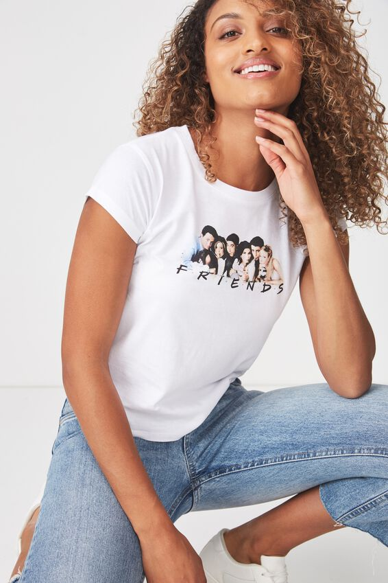Tbar Rachael Graphic Tee Shirt, LCN FRIENDS MILKSHAKE/WHITE