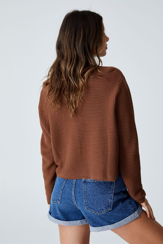 Cotton Cropped Pullover, LEAF BROWN