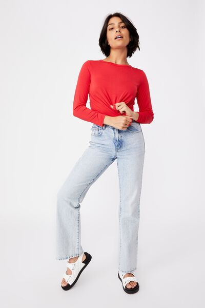 Kathleen Long Sleeve Top, LUCKY RED