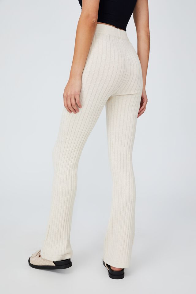 Cotton Vegetable Dye Ribbed Flare Pant, CHESTNUT SHELL MARLE