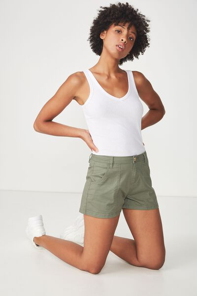 Panel Pocket Chino Short, GREEN FOREST