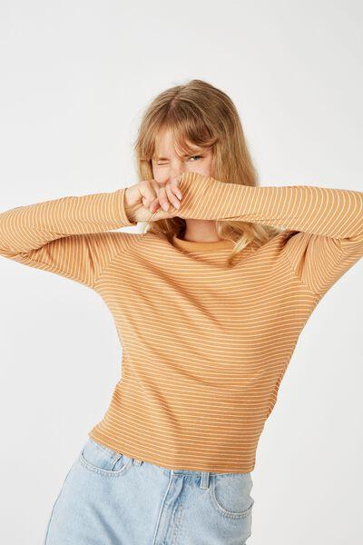 The Turn Back Long Sleeve Top, DARA STRIPE BISCUIT CLOUD DANCER