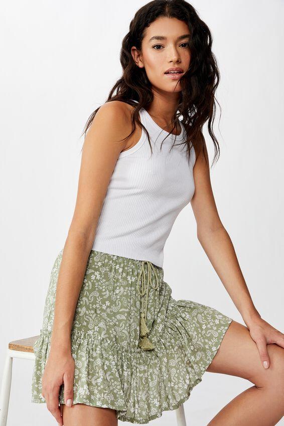 North Tiered Mini Skirt, BLAIR FLORAL PAISLEY TEA