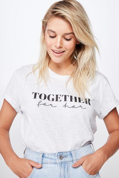 Classic Event T Shirt, TOGETHER FOR HER TEXT/SILVER MARLE