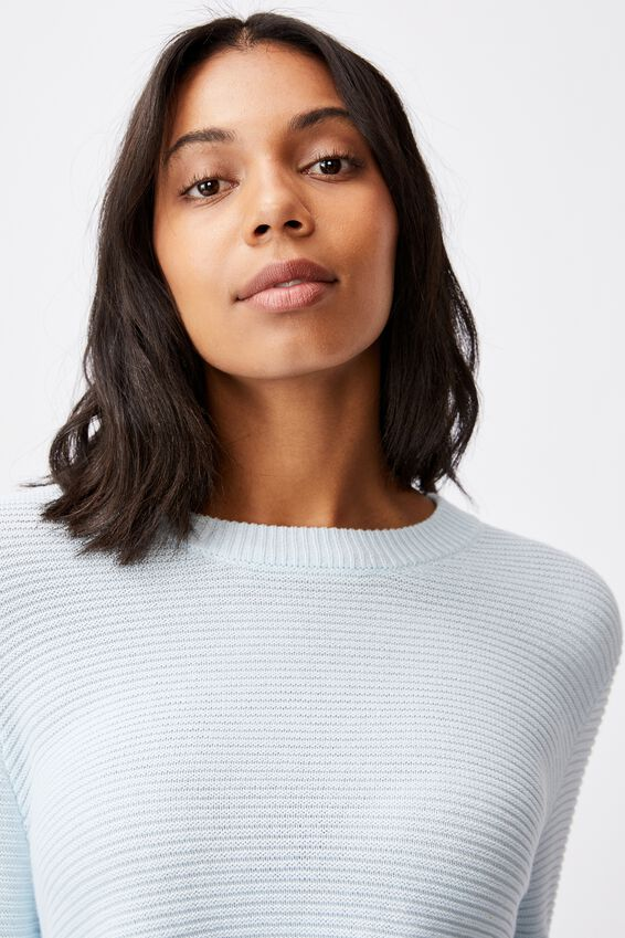 Cotton Cropped Pullover, ILLUSION BLUE