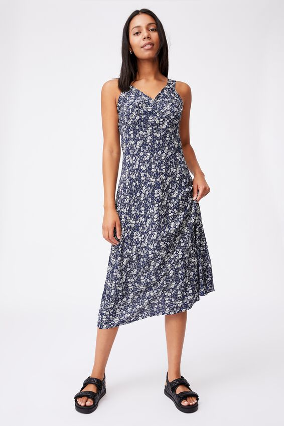 Woven Marcy Strappy Maxi Dress, KELLIE DITSY MIDNIGHT FESTIVAL