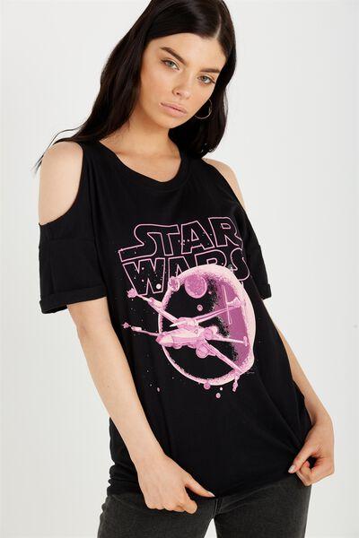Tbar Cold Shoulder Tee, LCN STAR WARS SPACE BATTLE/BLACK