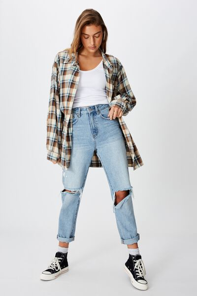 Relaxed Flannel Shirt, NEUTRAL MULTI CHECK