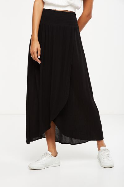Woven Gloria Maxi Skirt, BLACK