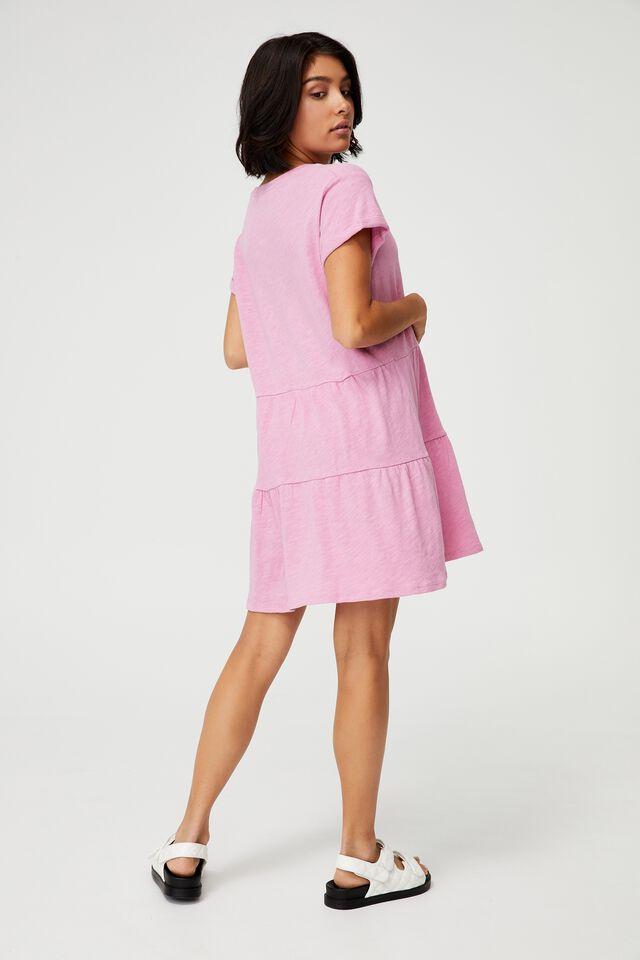Ritchie Tiered Tunic Mini Dress, PINK MAUVE