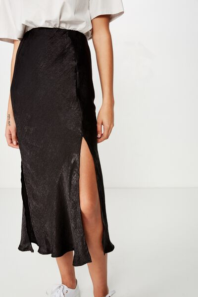 Woven Luna Bias Midi Skirt, BLACK
