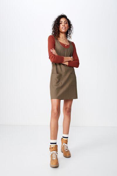Woven Amy Utility Pinafore Dress, OLIVE NIGHT