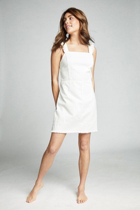 Denim Fray Edge Mini Dress, WHITE