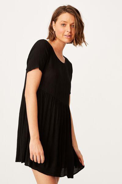 The Good Times Babydoll Mini Dress, BLACK
