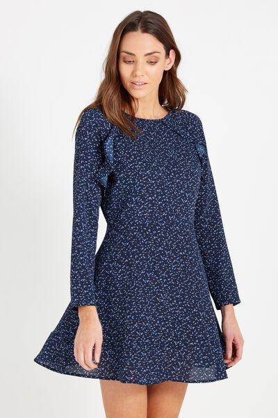 Woven Freddie Frill Dress, BOLTY SPACE NAVY