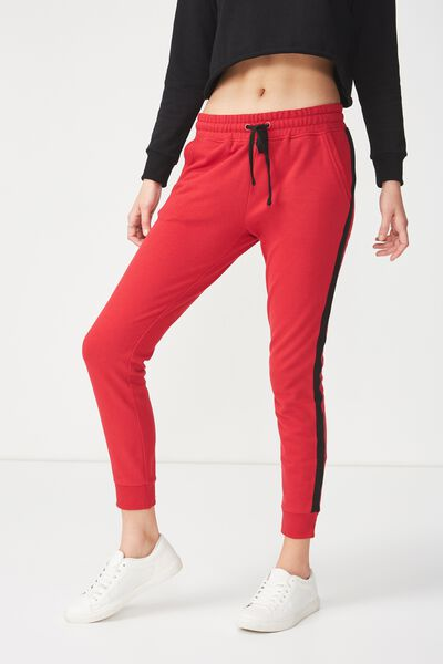 Adele Trackpant, JESTER RED/BLACK SIDE TAPE