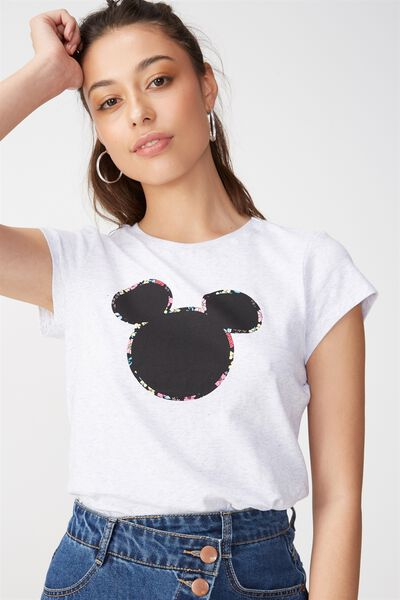 Tbar Friends Graphic Tee, LCN MICKEY FLORAL OUTLINE BLACK/SILVER MARLE