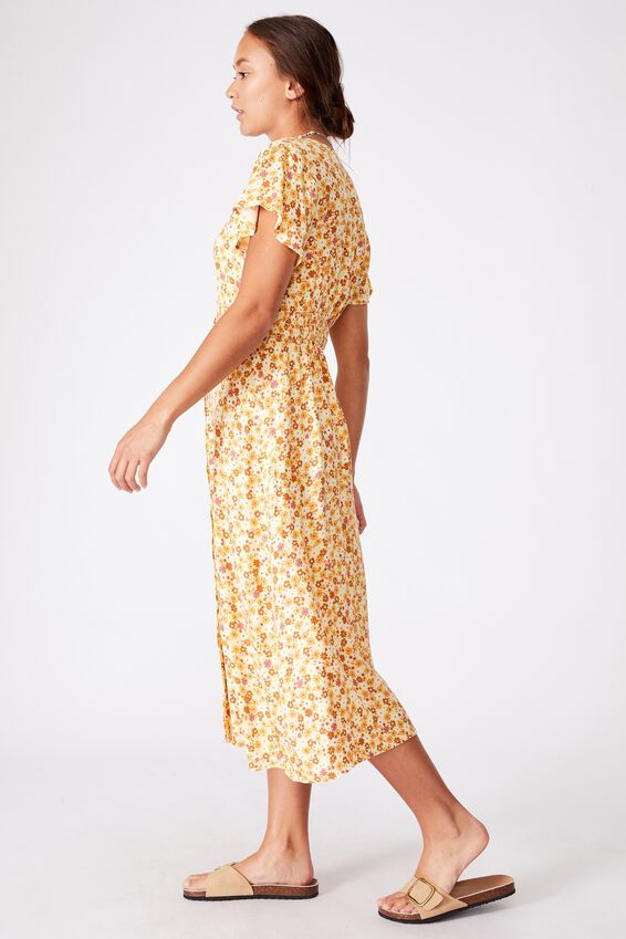 Woven Cassie Short Sleeve Midi Dress, ESME DITSY RETRO YELLOW