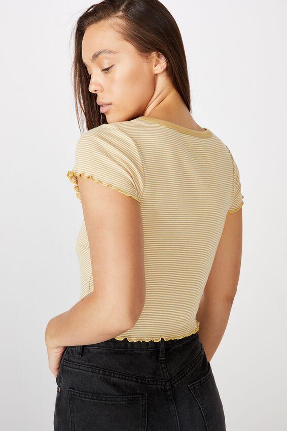 Turnback Short Sleeve Top, KENNY STRIPE NEW WHEAT/GARDENIA