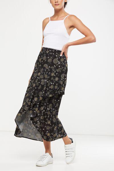 Woven Simone Trapeze Hem Layered Skirt, JULES BLACK