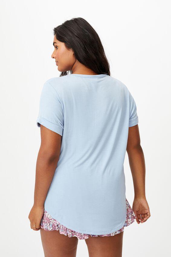 Curve Karly Short Sleeve Tee, DUSK BLUE
