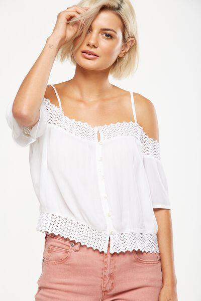 Tamara Cold Shoulder Top, WHITE