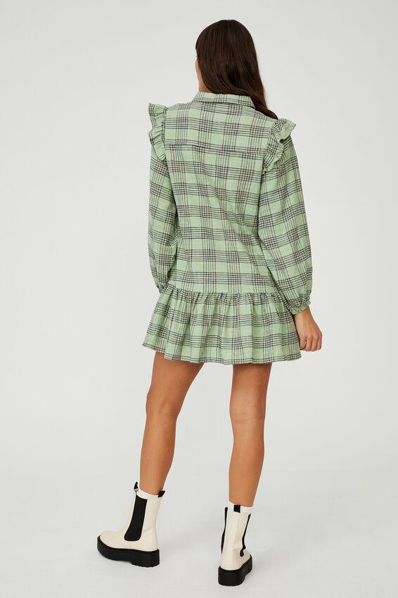 Woven Marnie Long Sleeve Babydoll Mini Shirt Dress, CHARLOTTE CHECK PISTACHIO GREEN
